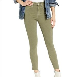 NWT Free People High Waisted Olive Stretch Jeans